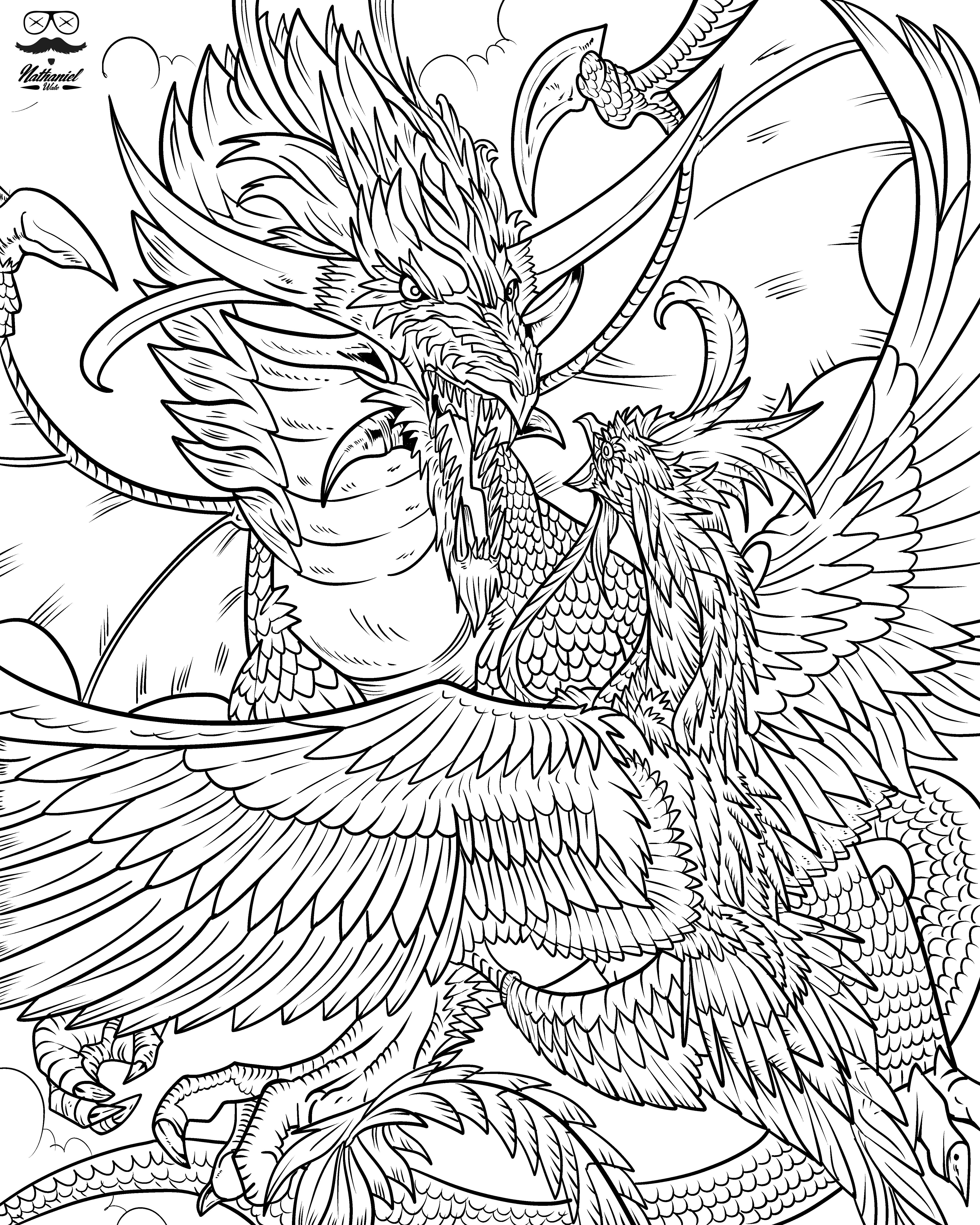 - From Nathaniel Wakes Wakes Adult Coloring Book, Dragon Life
