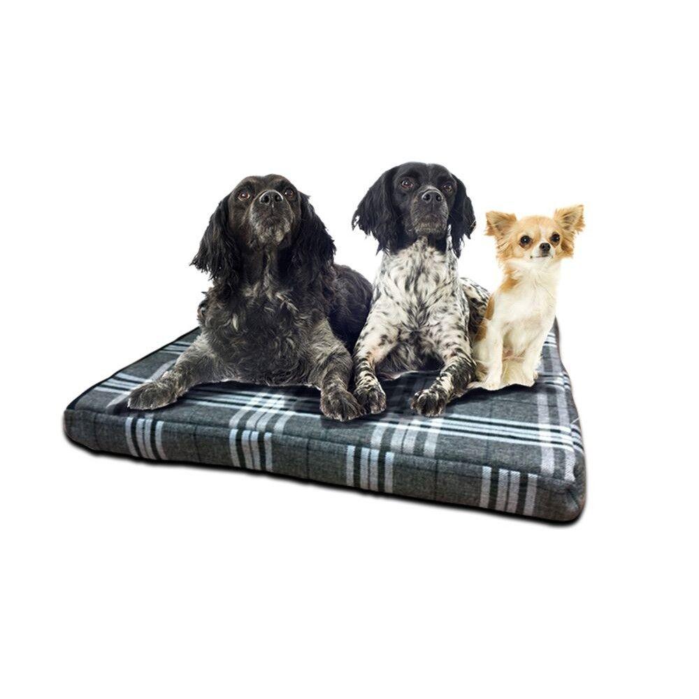 Charcoal Check Black Fleece Orthopaedic 100 Memory Foam 3 Thick Dog Mattress Dog Mattresses Black Fleece Fleece