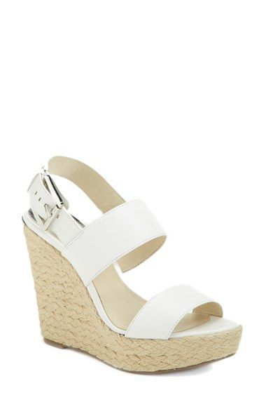 44be6f90f WHITE OR GOLD MICHAEL Michael Kors 'Posey' Espadrille Wedge Sandal (Women)  available at #Nordstrom