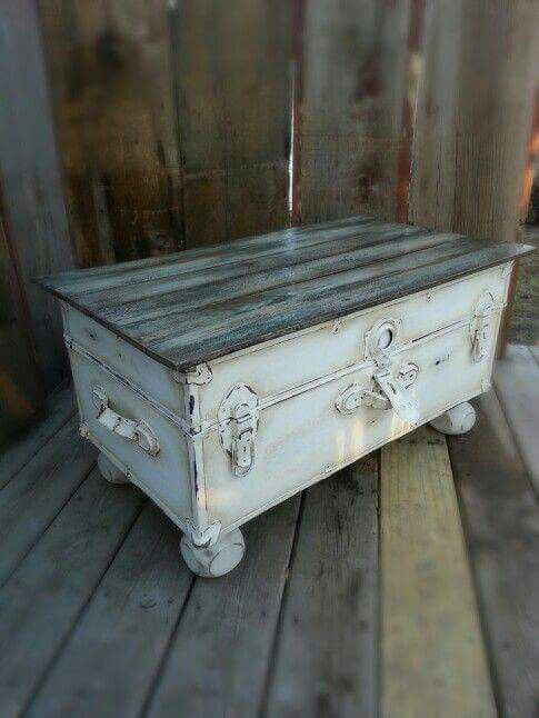 Outstanding repurpose of an old trunk to coffee table!