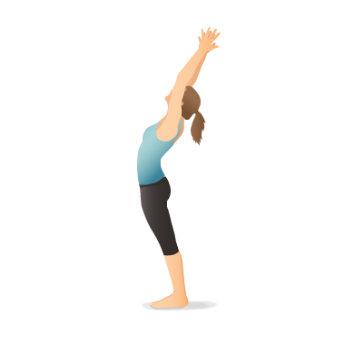 Yoga Pose Mountain With Arms Up Yoga Information Yoga Poses Yoga Illustration