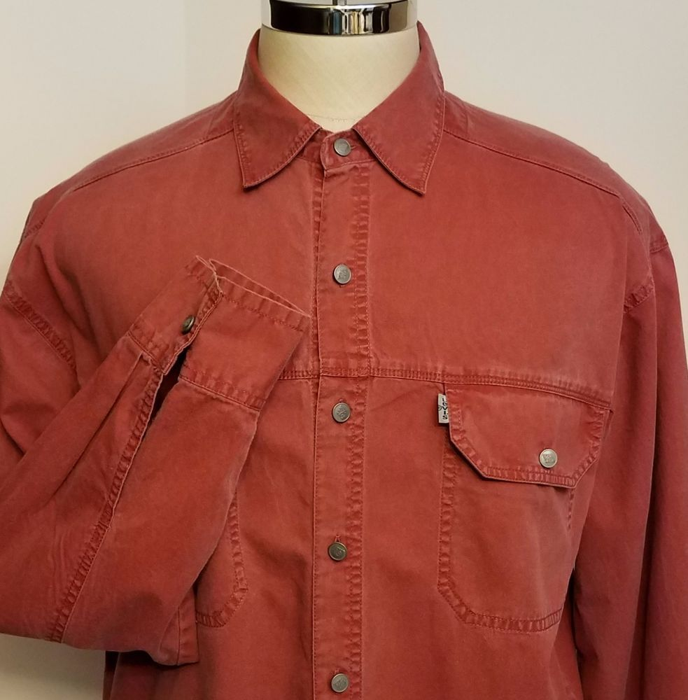 Details about Levi's Mens Red Denim Shirt White Tab Long Sleeve ...