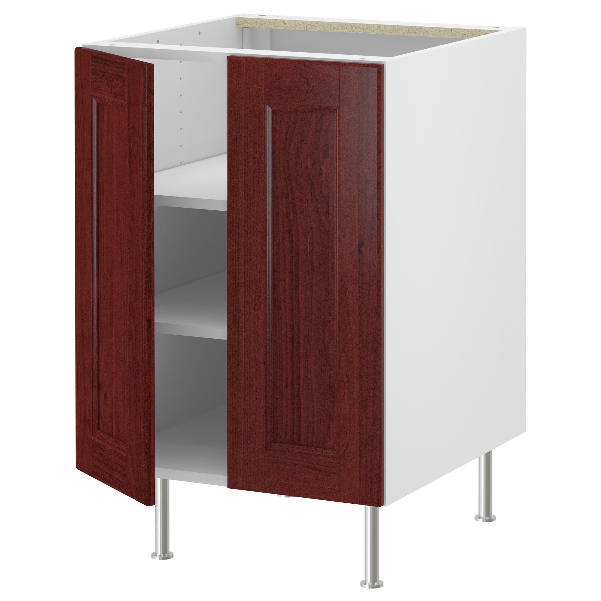 AKURUM Base cabinet w shelf 2 doors white Ramsjö red brown 30
