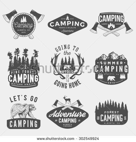 vector set of camping vintage logos, emblems, silhouettes and design ...