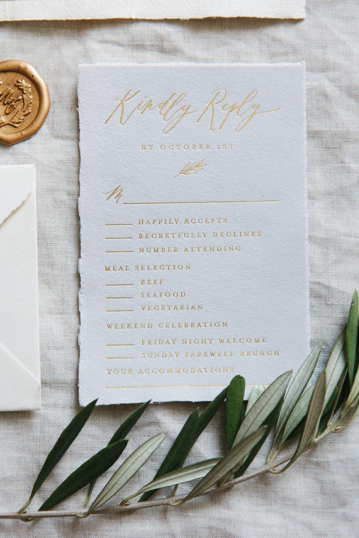 Gold Foil Response Card on Gray Handmade