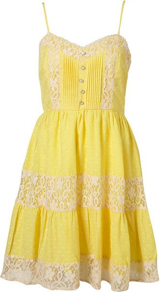 4b691d491e0 Topshop Lace Trim Dress By Parasol in Yellow - Lyst | Yellow dresses ...
