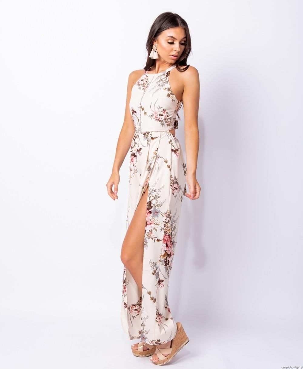 Ciara Maxi Kombinezon Sukienka W Kwiaty Rozciecia Krem Fashion High Low Dress Style