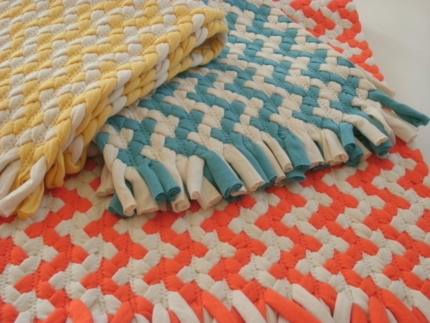 hand made   chevron braided rug made from organic cotton