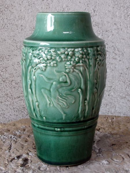 This Red Wing Art Pottery Vase With A Light Green Crackle Glaze