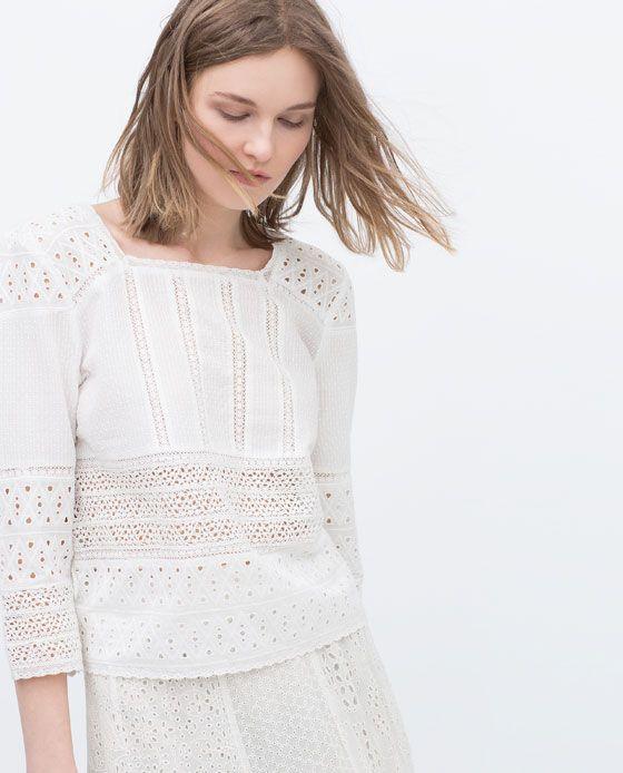 ZARA MUJER TOP ENCAJE | Moda en 2019 | Blusas, Blusas de