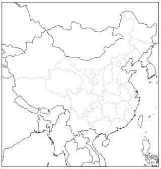 China outline (and other continent) maps for coloring, etc