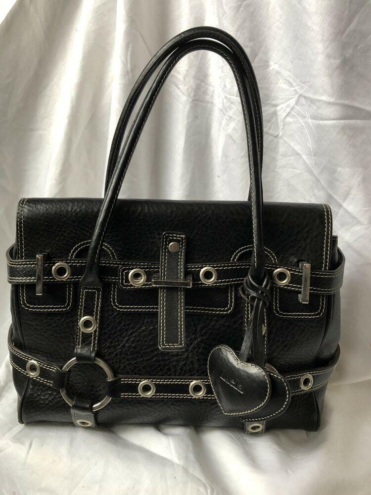a015f8d64c Luella Womens Gisele Satchel Handbag Black Leather Silver Tone Contrast  Stitch!!