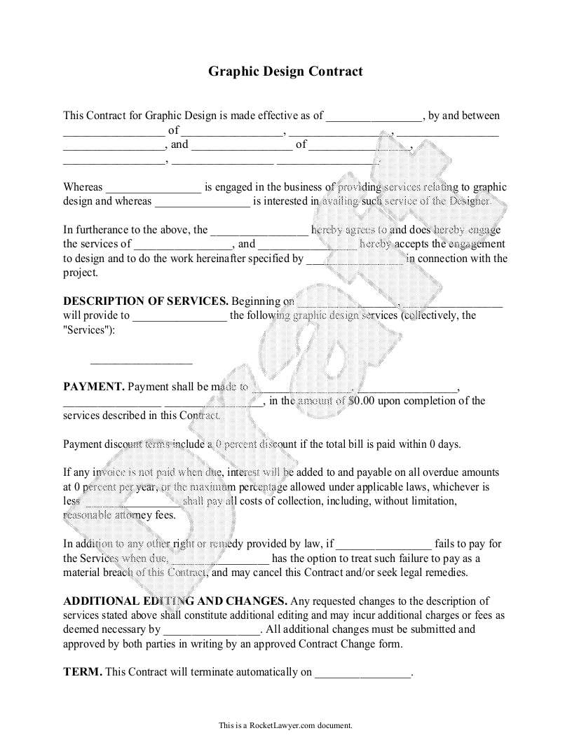 Sample Graphic Design Contract Form Template