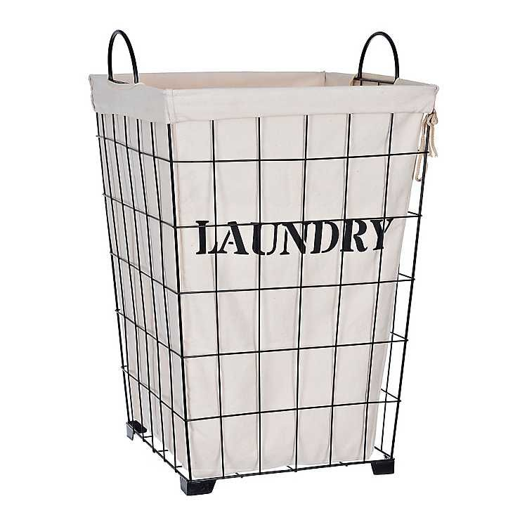 Metal And Fabric Retro Laundry Bin In 2020 Wire Laundry Basket
