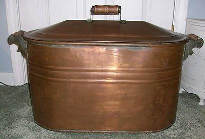 Antique Vintage Large Copper Wash Tub Boiler Pot Basin With Lid Wooden Handles Wash Tubs Antiques Vintage Large