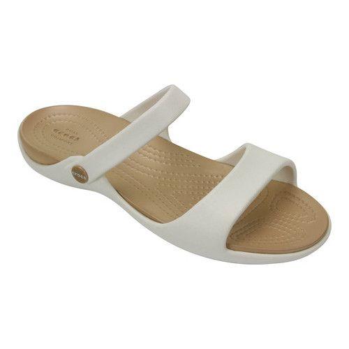 ea305ee73811e Women s Crocs Cleo V Slide Sandal - Oyster Gold Sandals