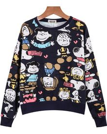 Royal Blue Round Neck Cartoon Characters Print Sweatshirt
