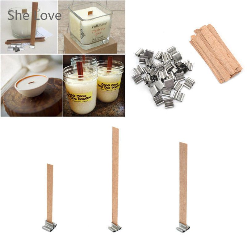 50 x wooden wick candle core sustainers diy candle making