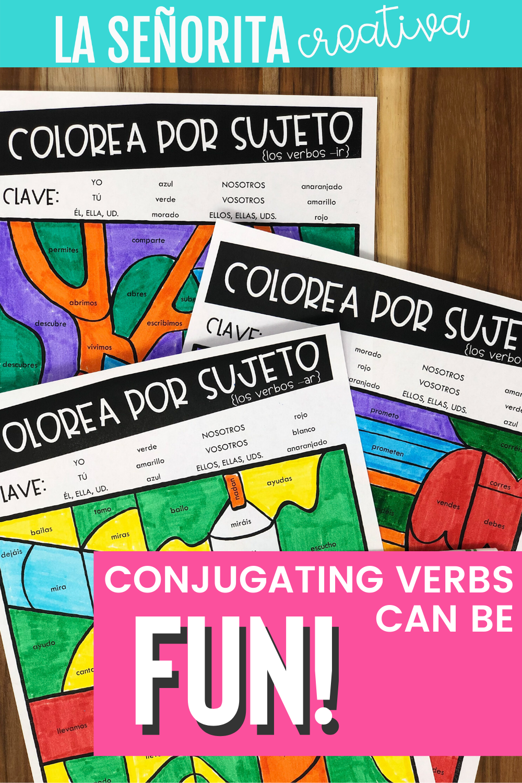 Present Tense Regular Verb Worksheets Spanish Verb Coloring Activity Colorea Color Activities Present Tense Verbs Spanish Verbs [ 1500 x 1000 Pixel ]