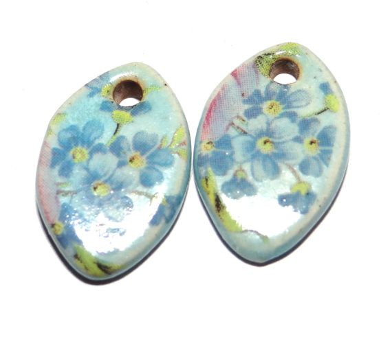 Ceramic Floral Charms Handmade Earring Pair Shabby Chic by Grubbi