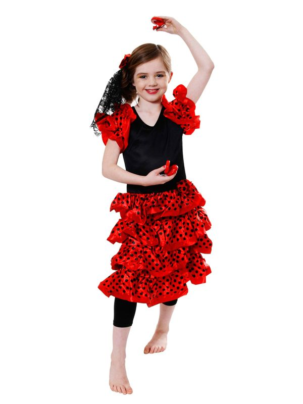 4628d433f Girls Spanish Salsa Flamenco Tango Rumba Dancer Fancy Dress Costume Age 4 -  12 | eBay