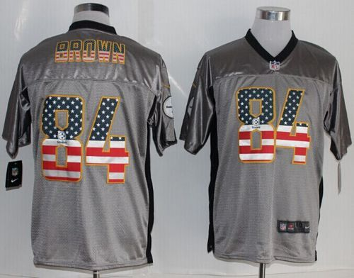 Nike Pittsburgh Steelers  84 Antonio Brown Grey Men s Stitched NFL Elite  USA Flag Fashion Jersey 40d12680a