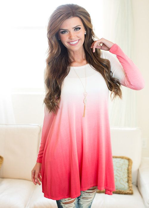 Long sleeve, Top, Ombre, Pink, White, Mixed Colors, Cute, Online Boutique