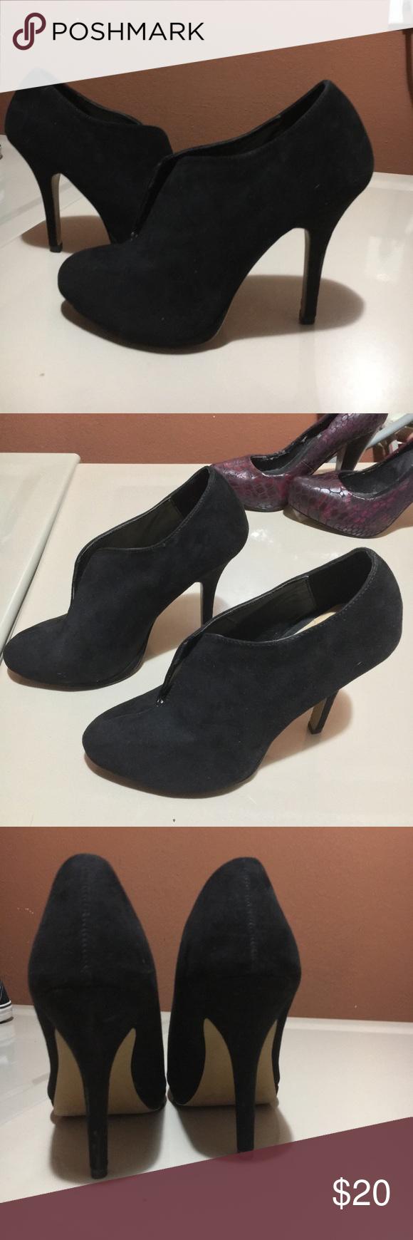 Apt. 9 black suede heels. About 3 inch