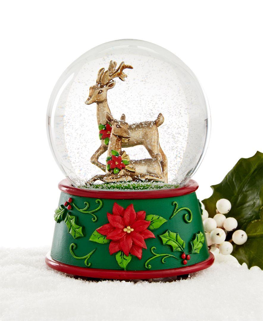 Christmas Tree Shop Binghamton Ny: Holiday Lane Bronze Deer Musical Snow Globe, Only At Macy