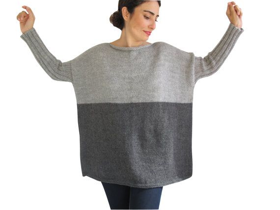 NEW Dark Gray Light Gray Sweater Plus Size Over Size by afra