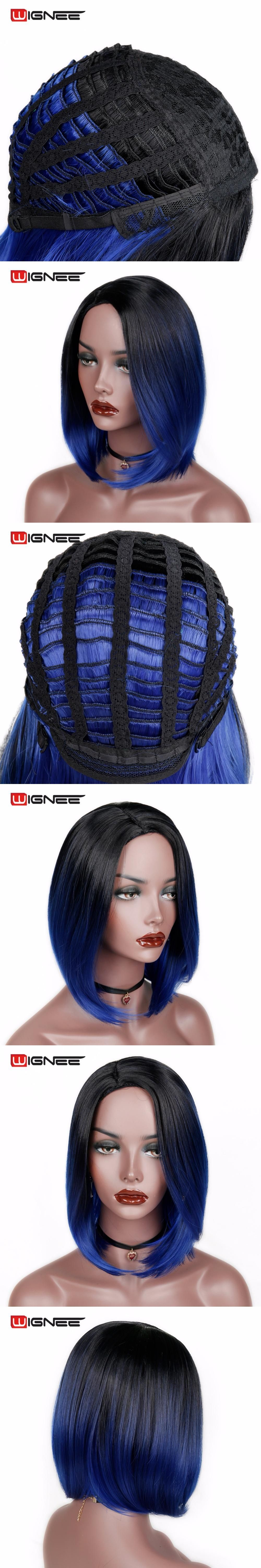 Wignee tone ombre blue color bob hair short synthetic wigs for