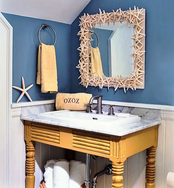 beach themed bathroom decorating ideas interior pin. Black Bedroom Furniture Sets. Home Design Ideas
