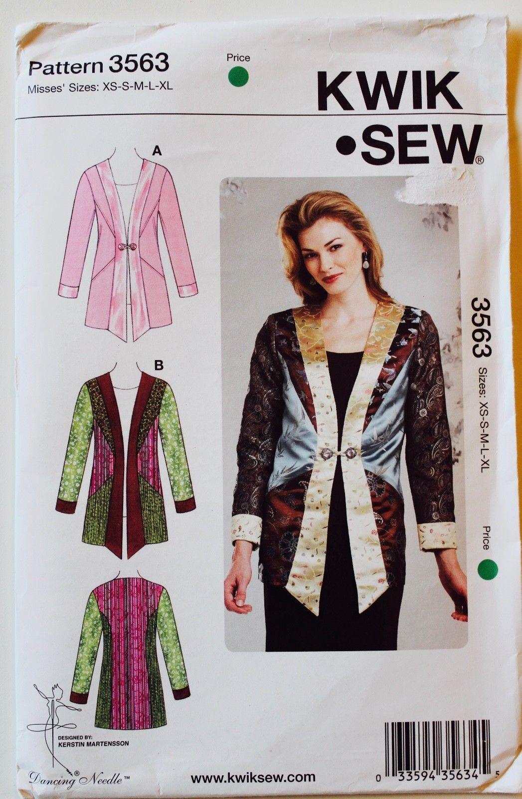 U PICK Vtg KWIK SEW Misses Womens Sewing Patterns Jackets Coats ...