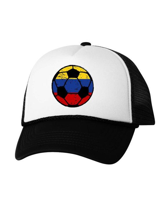 Colombia Soccer Ball Trucker Hat Colombian Hats Colombia Soccer Snapback Hat  Colombia 2018 Baseball bae637db1f4