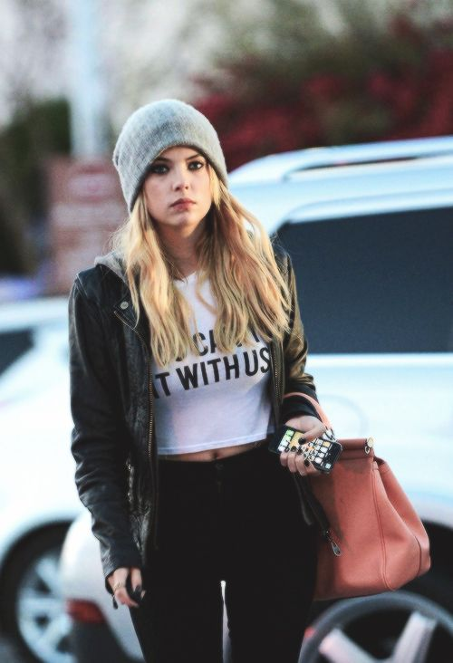 """Ashley Benson in Brandy Melville's """"You Can't Sit With Us"""" fitted cropped t shirt + high waisted black pants + beanie + oversized jacket"""