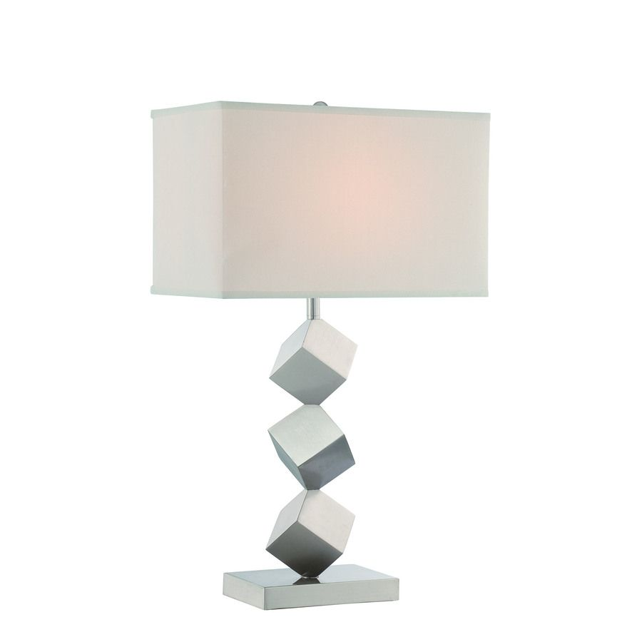 Lite Source Agostino 27 5 In Satin Nickel 3 Way Table Lamp With Fabric Shade Lowes Com In 2020 Table Lamp Lamp Nickel Table Lamps