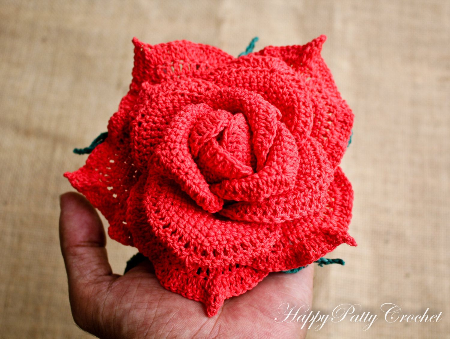 Large crochet rose centerpiece flower happy