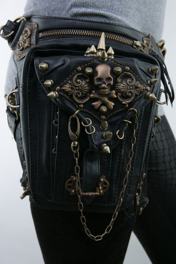 Skull Rocker Leather Waist and Holster Bag