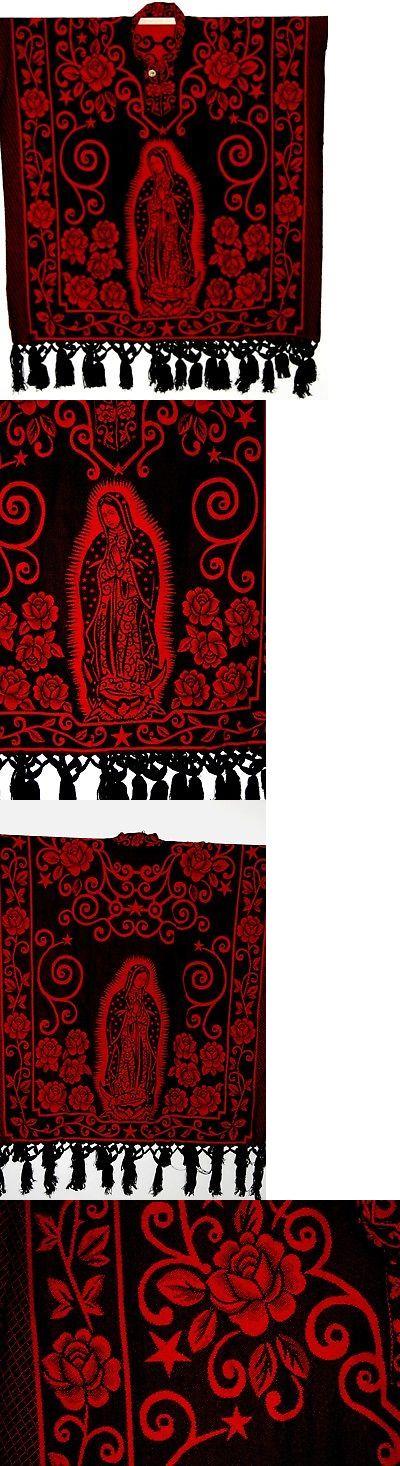 Black//Green Jorongo Poncho Gavan Mexican Virgen Guadalupe Reversible 2 in 1