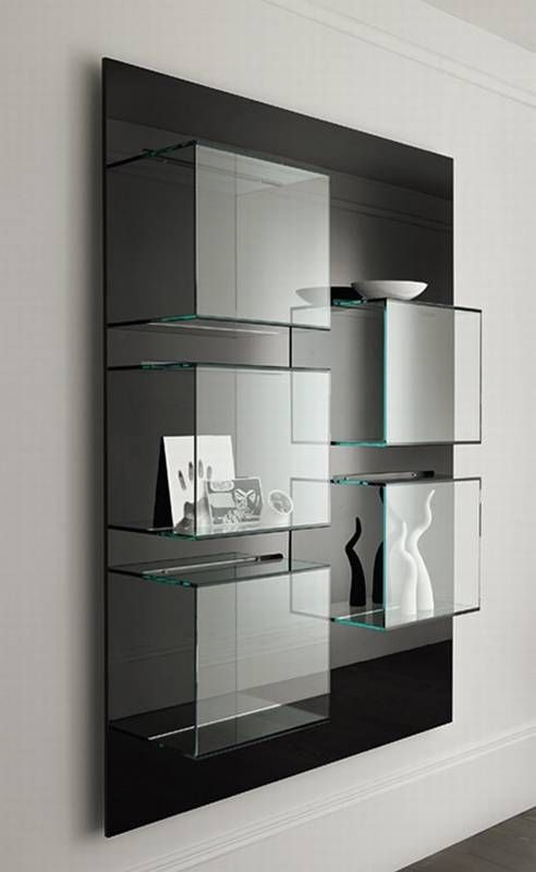 Tonelli Dazibao Glass Storage Cabinet Glass Bookcase Glass Shelves Multipurpose Furniture