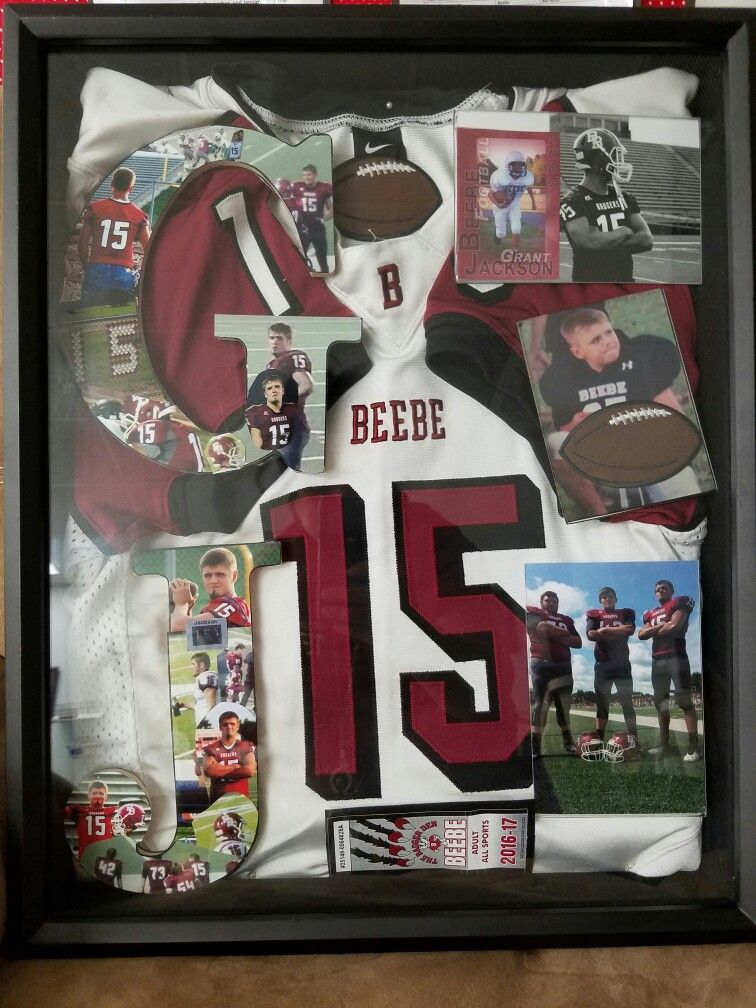 Senior High football shadow box. It is a collection of