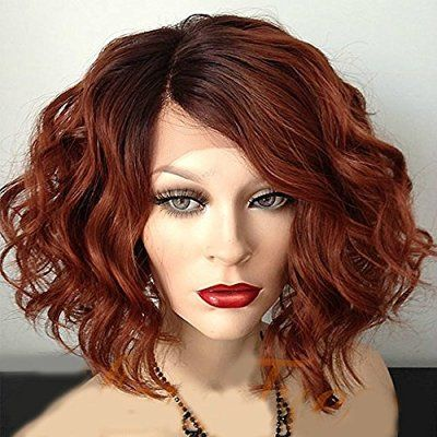 Sunwell Brazilian Human Virgin Hair Wig Short Wavy Bob Lace Front Wig for Women with Baby Hair Copper Red 130% Density, 14 inch
