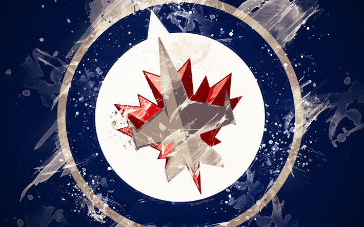 Download Wallpapers Winnipeg Jets 4k Grunge Art Canadian Hockey Club Logo Dark Blue Background Creative Art Emblem Nhl Winnipeg Manitoba Canada Usa Winnipeg Jets Winnipeg Jets Hockey Jets Hockey