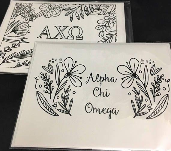 Alpha Chi Omega AXO Coloring Notecards   Sorority Recruitment Bid Day Reveal   Big Little Gift   Study Break   Back to School   Greek -   8 sorority crafts recruitment ideas