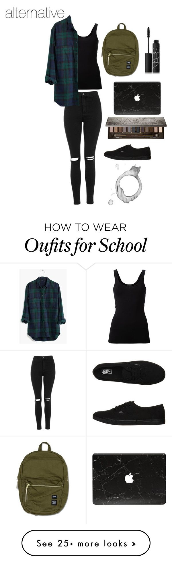 """School Outfit #1"" by alexandra-masler on Polyvore featuring Topshop, Theory, Madewell, Vans, Herschel, NARS Cosmetics and Urban Decay"