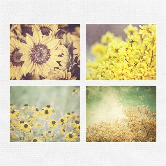 Yellow Print or Canvas Wrap Set of 4, Yellow Flower Pictures ...