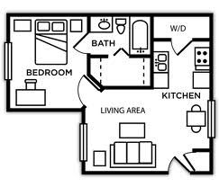 One bedroom, one bath apartment. Each one bedroom is fully