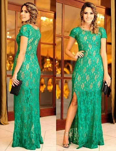 Vestido longo renda guipir verde
