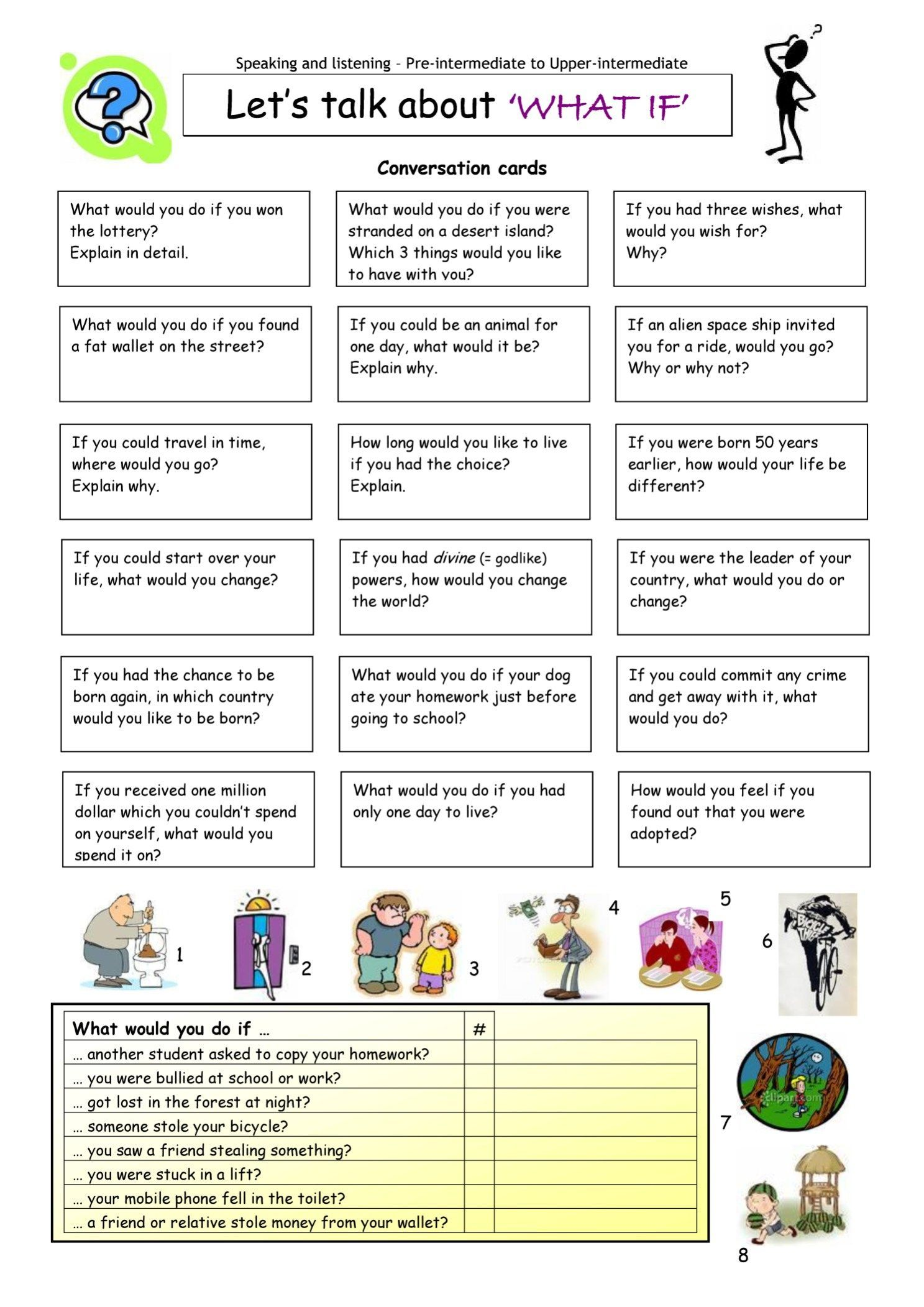 Let S Talk About What If Learn English Teaching English Conversation Cards
