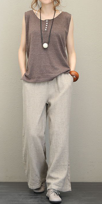 Vintage Thicken Linen Wide Leg Pants For Women Q1537